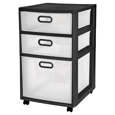 Sterilite® Ultra™ 3-Drawer Storage Cart - Black