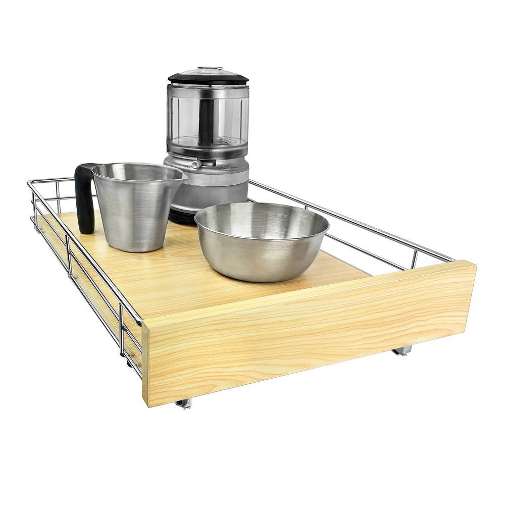 """Image of """"Lynk Professional Select Slide Out Wood Cabinet Organizer - Pull Out Under Cabinet Sliding Wood Shelf - 14"""""""" x 21"""""""" - Wood and Chrome, Silver"""""""