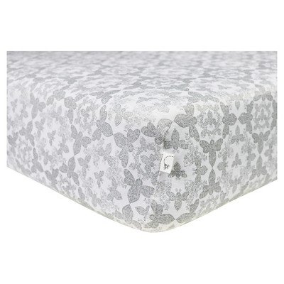 Burt's Bees Baby® Organic Fitted Crib Sheet - Paisley Bee - Fog Gray