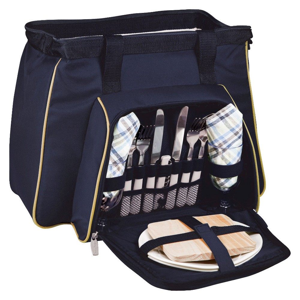 Image of Picnic Time 14pc Toluca Canvas Picnic Bag - Navy, Beige Blue
