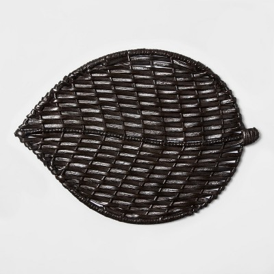 Wicker Leaf Serving Platter 15  x 11.3  Brown - Threshold™