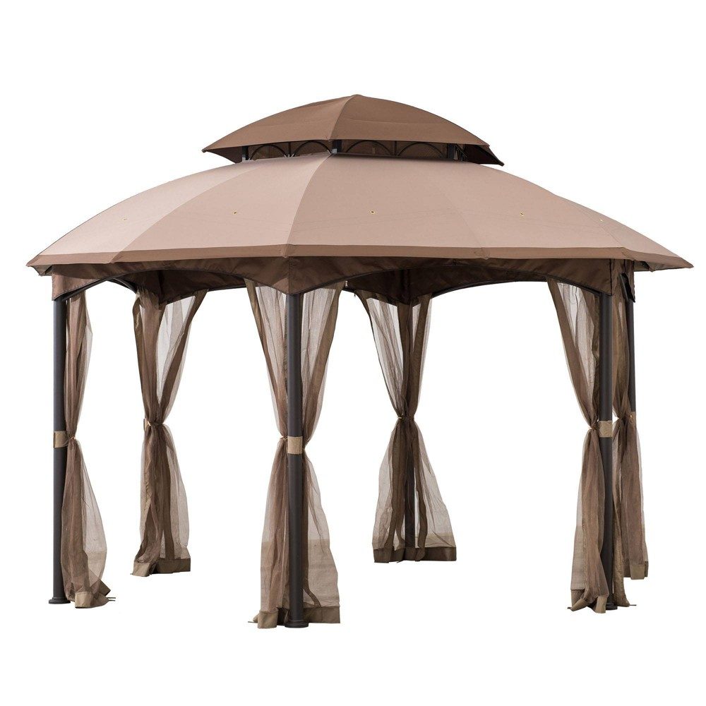 Image of Lombard 13' X 13' Hexagon Steel Frame Vented Outdoor Gazebo - Sunjoy