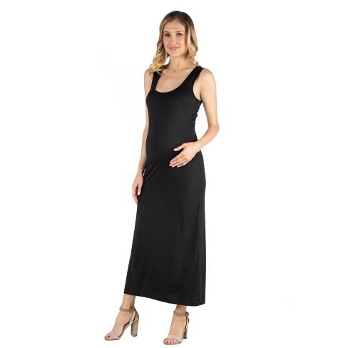 24seven Comfort Apparel Women's Maternity Scoop Neck Maxi Dress - image 1 of 3