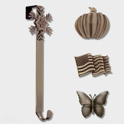 Haute Decor Christmas Adjustable Wreath Hanger with Icon Bundle Bronze Flag/Snowflake/Pumpkin/Butterfly