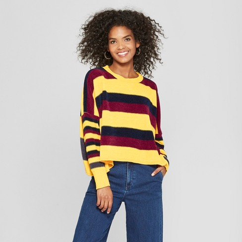 Women's Long Sleeve Striped Chenille Sweater - Cliche Yellow - image 1 of 2