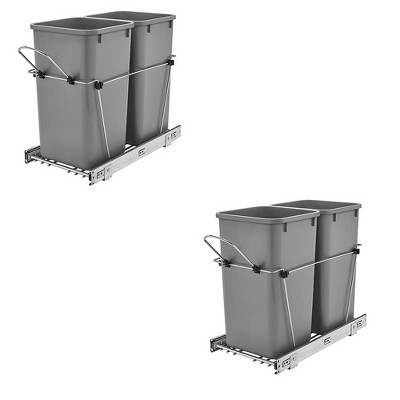 Rev A Shelf Double 27 Qt Sliding Pull Out Waste Bin Container (2 Pack)