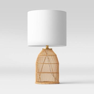 Rattan Diagonal Weave Table Lamp Tan - Opalhouse™