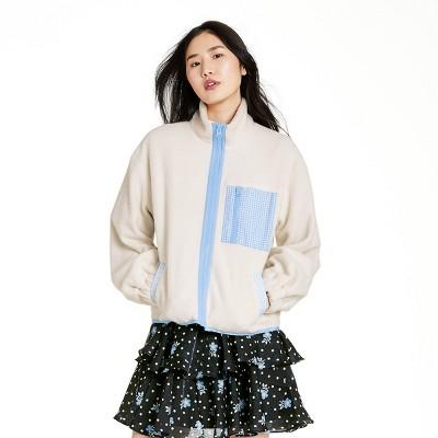 Women's Gingham Pocket Sherpa Jacket - Sandy Liang x Target Cream