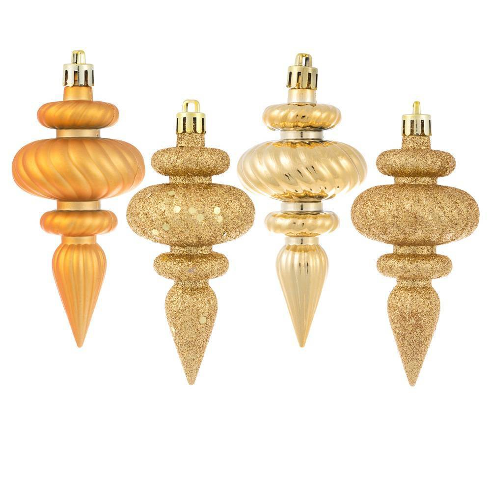 """Image of """"8ct Vickerman 4"""""""" Finial, 4 Finish Assorted Ornament Set Copper Gold"""""""