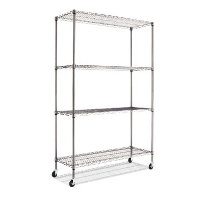 Alera Complete Wire Shelving Unit w/Caster, Four-Shelf, 48 x 18 x 72, Black Anthracite SW604818BA