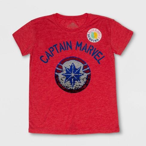 ec465dba3 Girls  Captain Marvel Shield Flip Sequin Short Sleeve T-Shirt - Red   Target