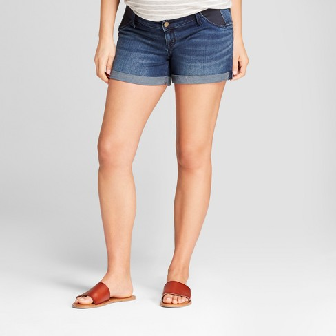 02b3b700e416b Maternity Inset Panel Midi Jean Shorts - Isabel Maternity By Ingrid &  Isabel™ Dark Wash : Target