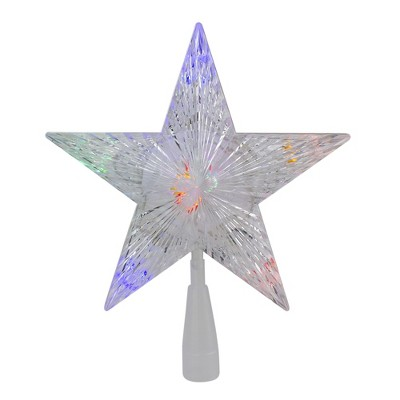 """Northlight 10"""" Lighted White 5 Point Star Christmas Tree Topper - Multicolor LED Lights"""