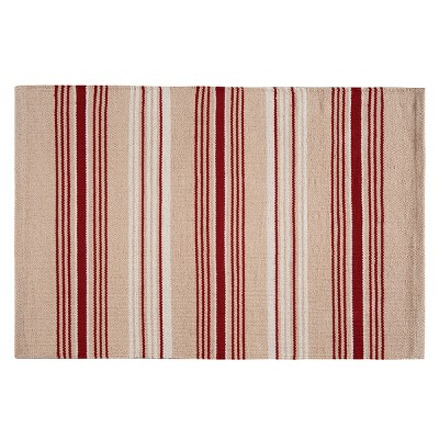 2'x3' Rectangle Stripe Accent Rug Red - C&F Home