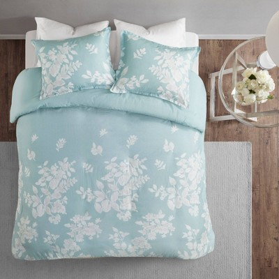 3pc Full/Queen Gisella Cotton Printed Duvet Cover Set Aqua