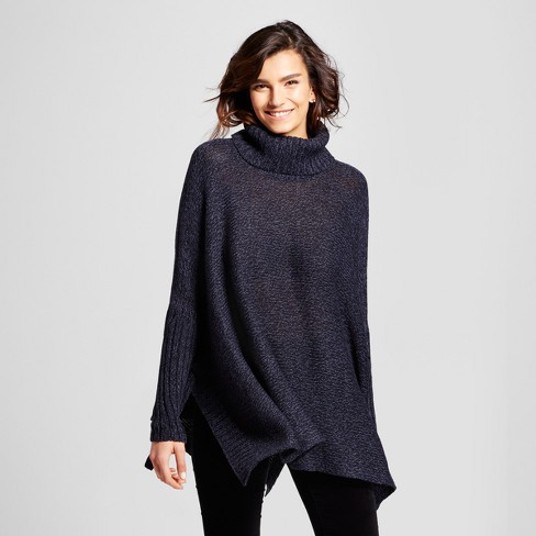 Womens Poncho Sweater With Tie Detail Nitrogen Navy Target