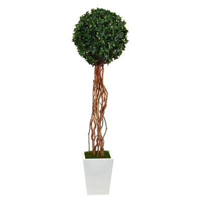 """62"""" Indoor/Outdoor English Ivy Single Ball Artificial Topiary Tree in Metal Planter White/Green - Nearly Natural"""