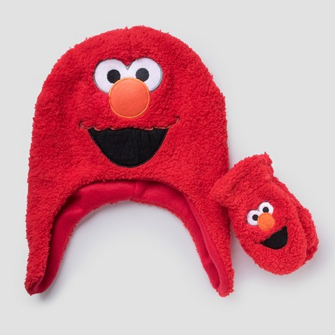 Toddler Boys Elmo Sesame Street Hat And Mitten Set Red One Size