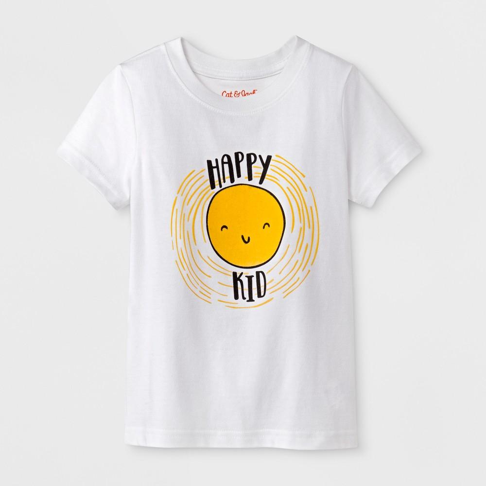 Toddler Boys' Happy Kid Short Sleeve T-Shirt - Cat & Jack White 3T