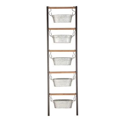 """75"""" Farmhouse Wood and Iron Leaning Ladder with Rectangular Hanging Planters Gray - Olivia & May"""