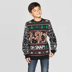 Well Worn Boys' Ginger Bread Ugly Christmas Sweater - Black