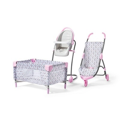 Perfectly Cute Deluxe Nursery 4pc Accessory Set for Baby Dolls