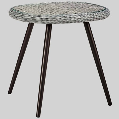 Endeavor Outdoor Wicker Patio Side Table Gray - Modway