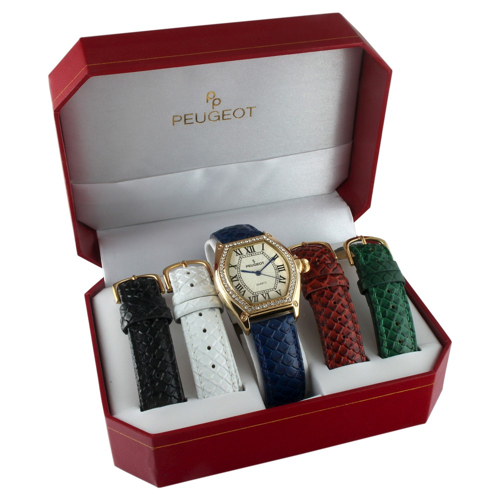 Image of Peugeot Women's Silver tone 5 Strap Interchangeable Watch Set, Size: Small, Black Blue Silver