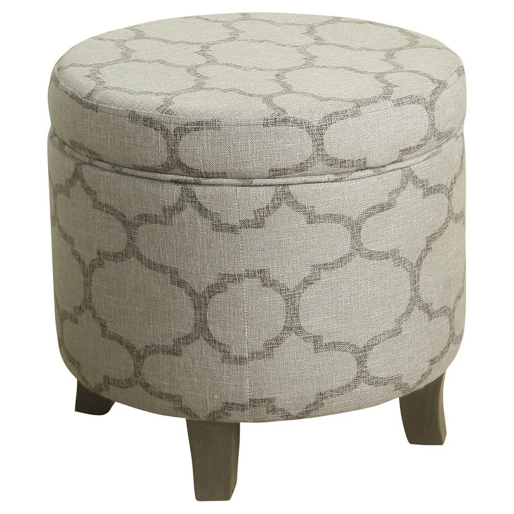 Image of Cole Classics Round Storage Ottoman Flared Wood Leg - Grey Quatrefoil - HomePop, Gray
