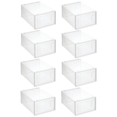 mDesign Plastic Stackable Closet Shoe Storage Box, Side Opening, Clear