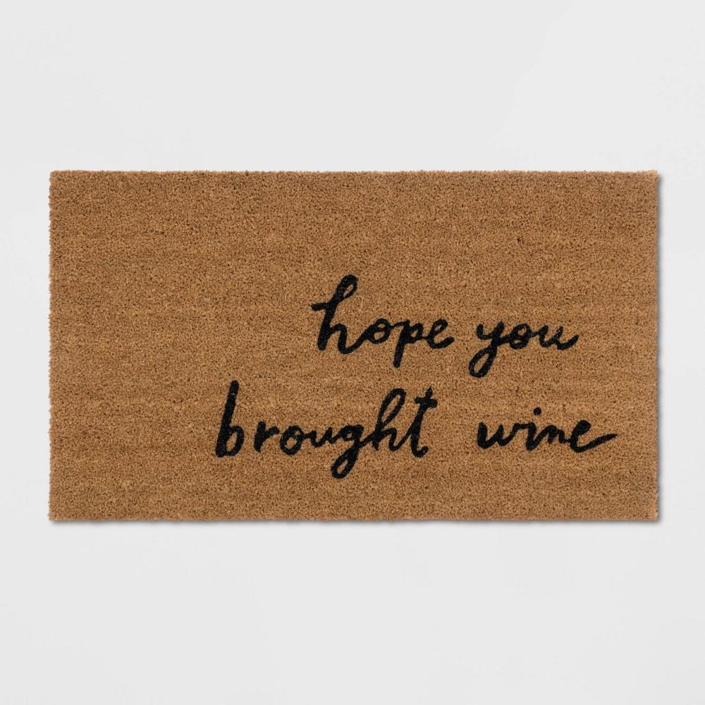 Hope You Brought Wine Coir Doormat Tan/Black