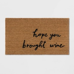 "18""X30"" Hope You Brought Wine Coir Doormat Tan/Black - Threshold™"