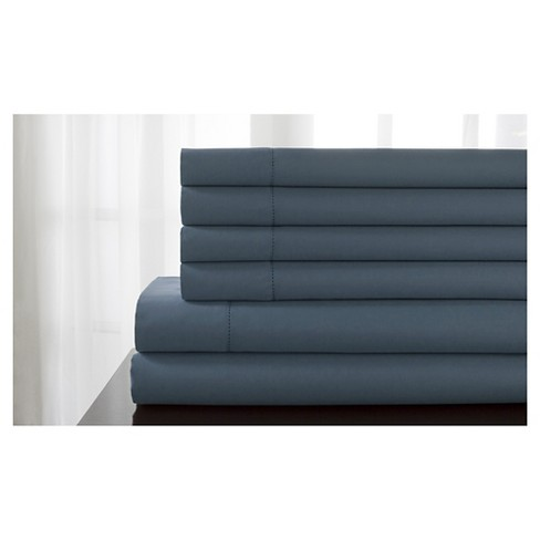 Delray 600 Thread Count Hemstitch Solid Bonus Sheet Set (California King) Slate Blue - image 1 of 1