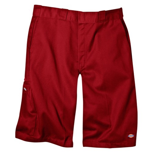 'Dickies Men's Loose Fit Twill 13'' Multi-Pocket Work Shorts- English Red 32'