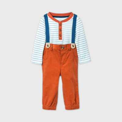 Baby Boys' Corduroy Henley Suspender Top & Bottom Set - Cat & Jack™ Cream 0-3M