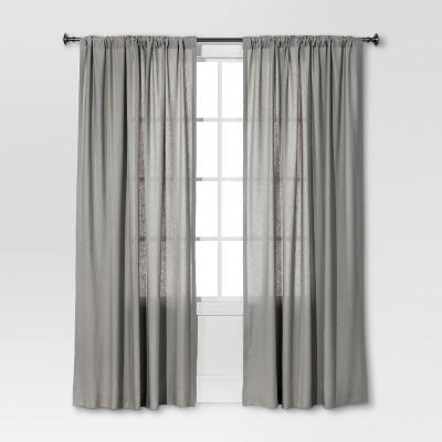 Curtain Panel Linen-Look Gray - Threshold™