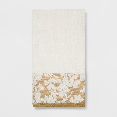 Floral Border Bath Towel Sour Cream - Threshold™