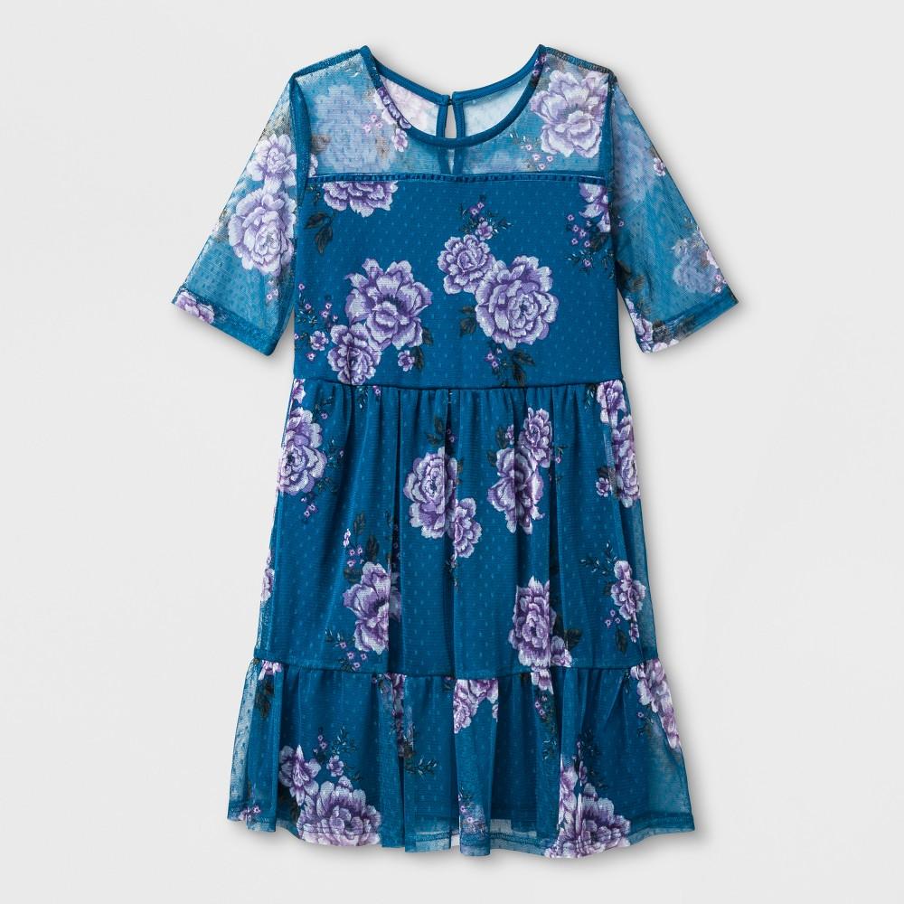 Girls' Illusion Mesh Dress - art class Blue Floral XS
