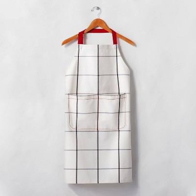 Adult Windowpane Plaid Cooking Apron Railroad Gray/Red - Hearth & Hand™ with Magnolia