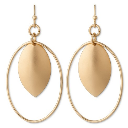 Oval Wire Teardrop Earring Gold