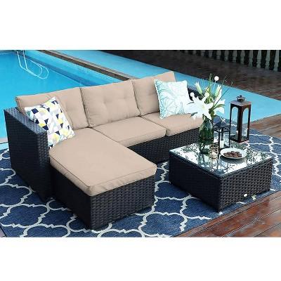 3pc Outdoor Wicker Rattan Furniture Set - Captiva Designs