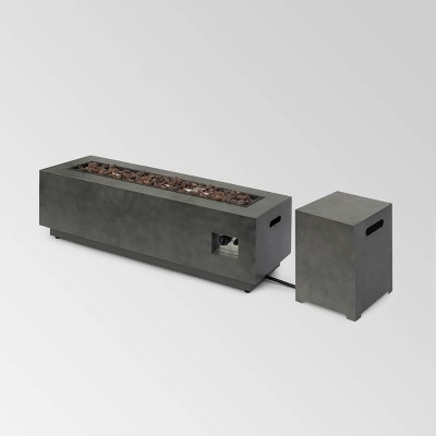 """Wellington 48"""" Rectangular Iron Gas Fire Pit with Tank Holder - Christopher Knight Home"""