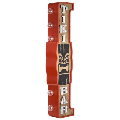 Tiki Bar Vintage LED Marquee Sign Red/Brown - Crystal Art Gallery