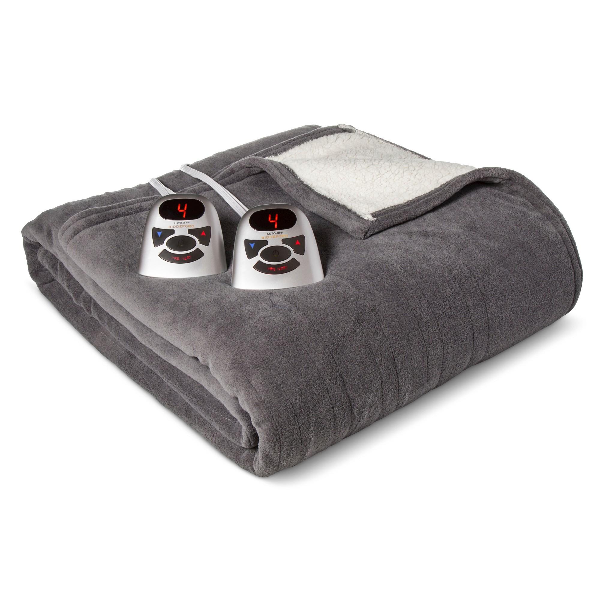 Electric Heated Microplush with Sherpa Blanket Full Gray - Biddeford