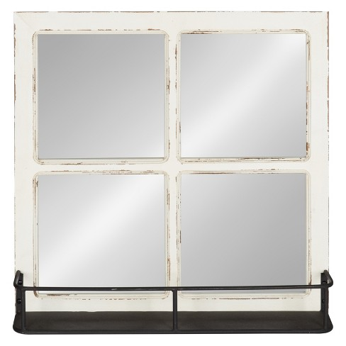 Kate Laurel 20 3 X20 Jackson Distressed Wood Windowpane Decorative Wall Mirror With Metal Shelf Natural Target