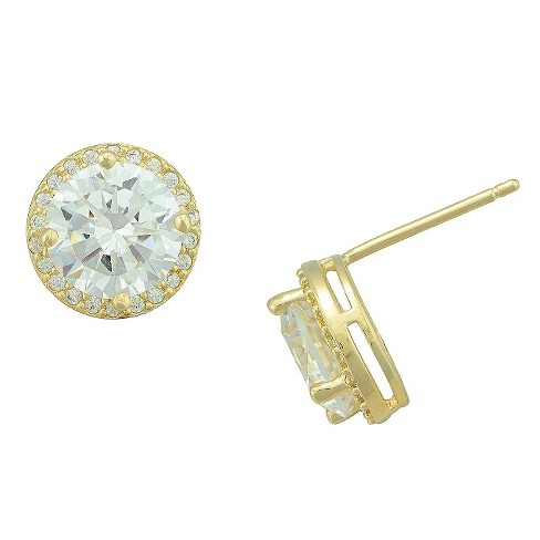 Women's Gold Plated Cubic Zirconia Halo Stud Earring - image 1 of 1