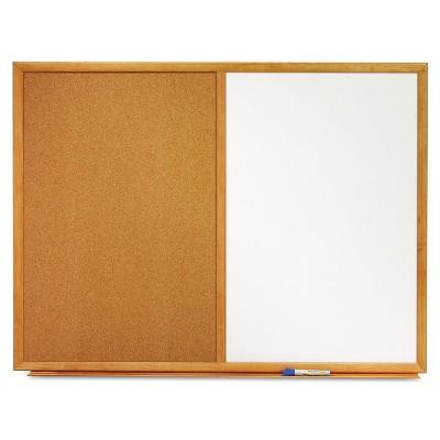 Quartet Bulletin/Dry-Erase Board Melamine/Cork 48 x 36 White/Brown Oak Finish Frame S554