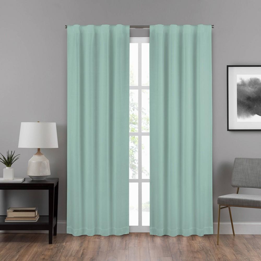 "Image of ""108""""x40"""" Summit Solid Draft Stopper Room Darkening Window Curtain Panel Green - Eclipse"""