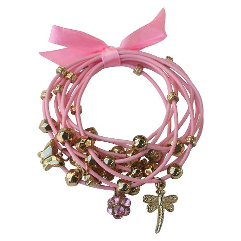 Zirconite Multi-Strand Bracelet with Flower and Butterfly Charms - Pink - image 1 of 1