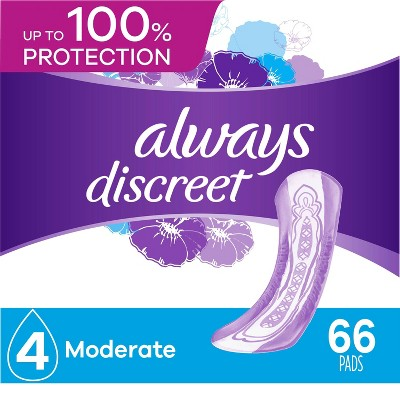 Always Discreet Incontinence & Postpartum Incontinence Pads for Women - Moderate Absorbency - Size 4